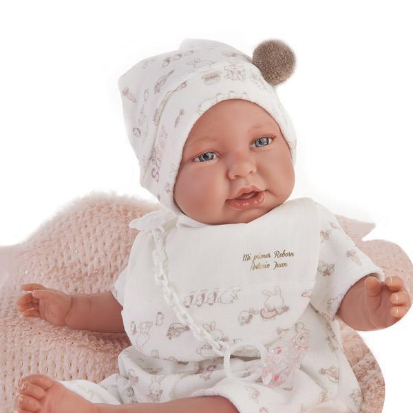 Papusa bebe realist Mi primer Reborn Berta Daniela cu paturica, roz, Antonio Juan