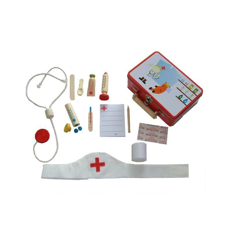 Set joaca De-a doctorul, in cutie metalica, 16 accesorii, MamaMemo