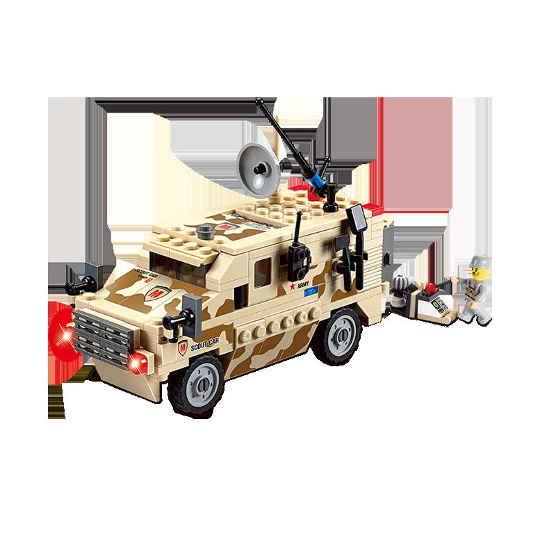 Set cuburi constructie MyArmy Camion militar de recunoastere, 219 piese, Blocki