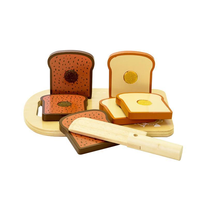 Set blat de taiat cu paine de jucarie, din lemn, MamaMemo imagine