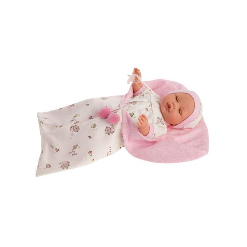 Papusa bebe Bimba Reborn in saculet de dormit, mecanism plans, pleoape miscatoare, roz, Antonio Juan