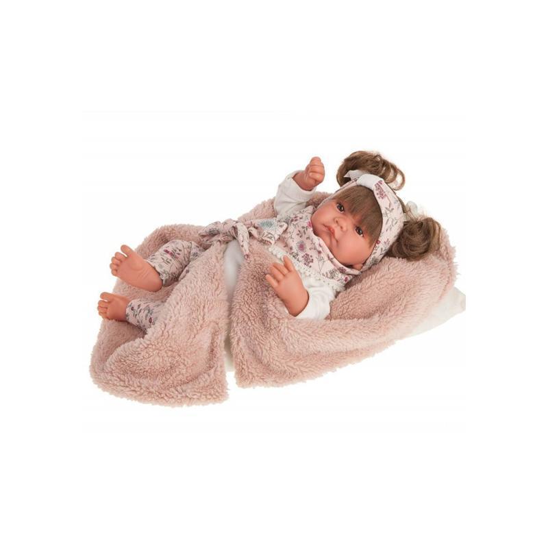 Papusa bebe realist Nica Reborn cu paturica, cu articulatii, roz, Antonio Juan