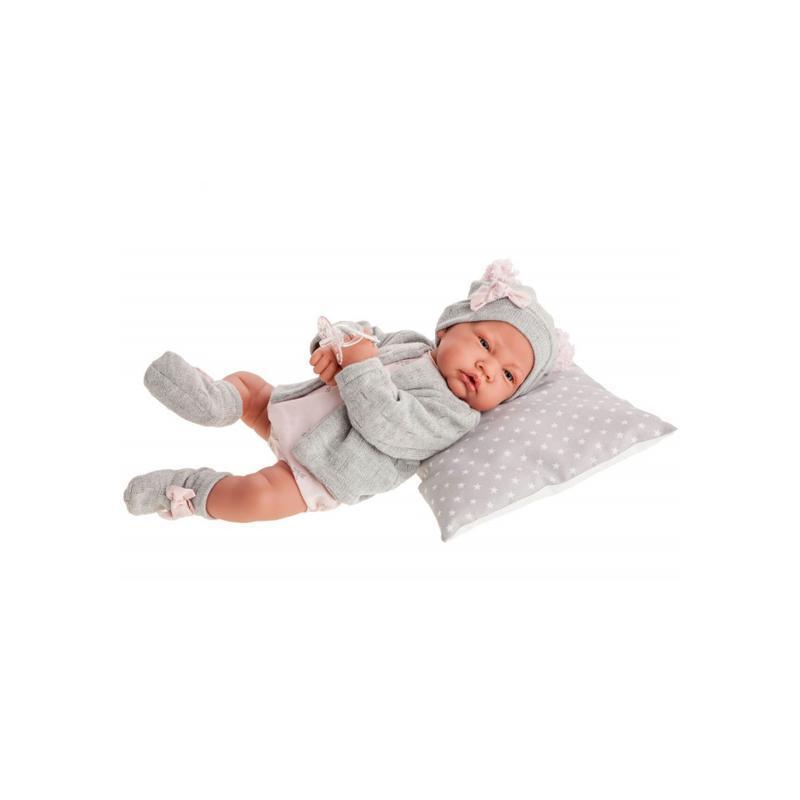 Papusa bebe realist Nacida Reborn cu pernuta, cu articulatii, gri, Antonio Juan