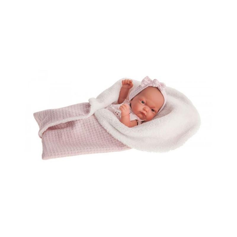 Papusa nou-nascut realist Pitu Reborn in saculet de dormit, corp realist anatomic, roz, Antonio Juan