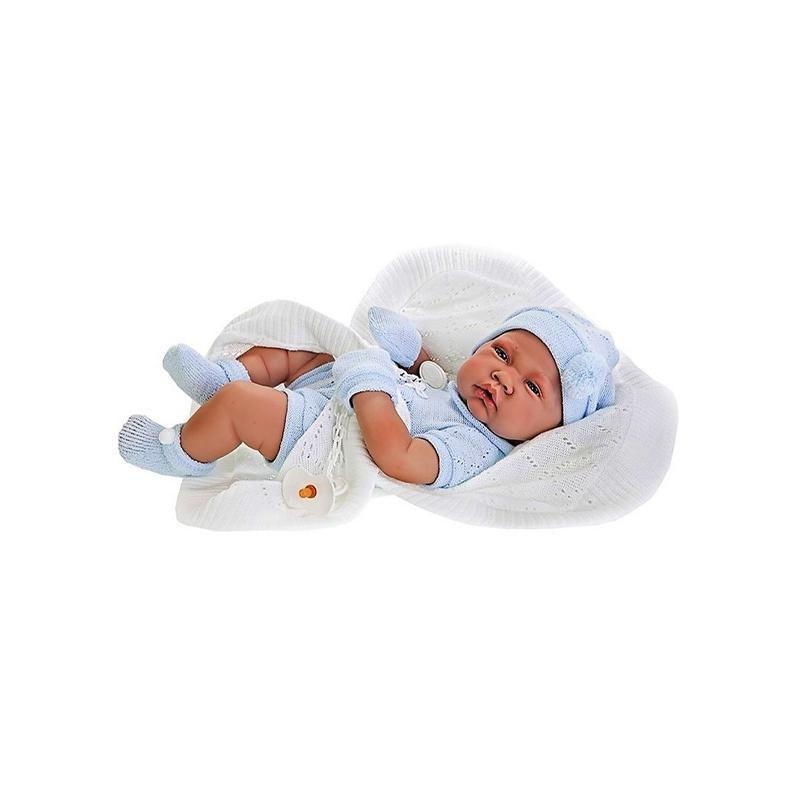Papusa bebe realist Toqui-baiat Reborn cu paturica, cu articulatii, alb-albastru, corp realist anatomic, Antonio Juan