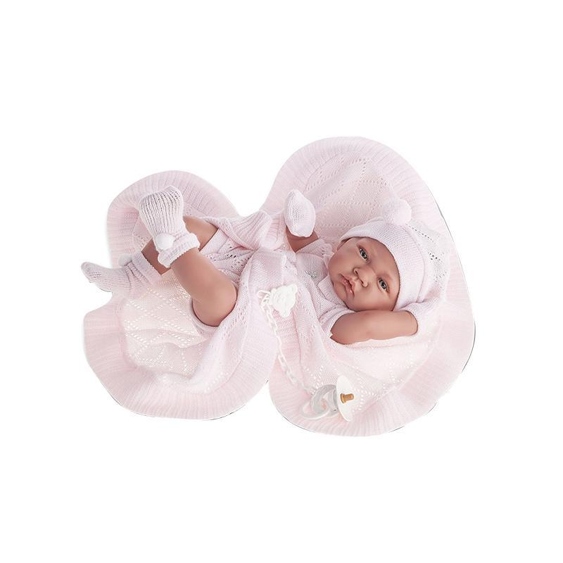 Papusa bebe realist Toqui-fetita Reborn cu paturica, cu articulatii, alb-roz, corp realist anatomic, Antonio Juan
