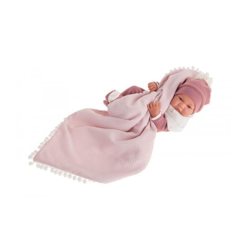 Papusa bebe realist Nica Reborn cu paturica, roz, corp realist anatomic, Antonio Juan