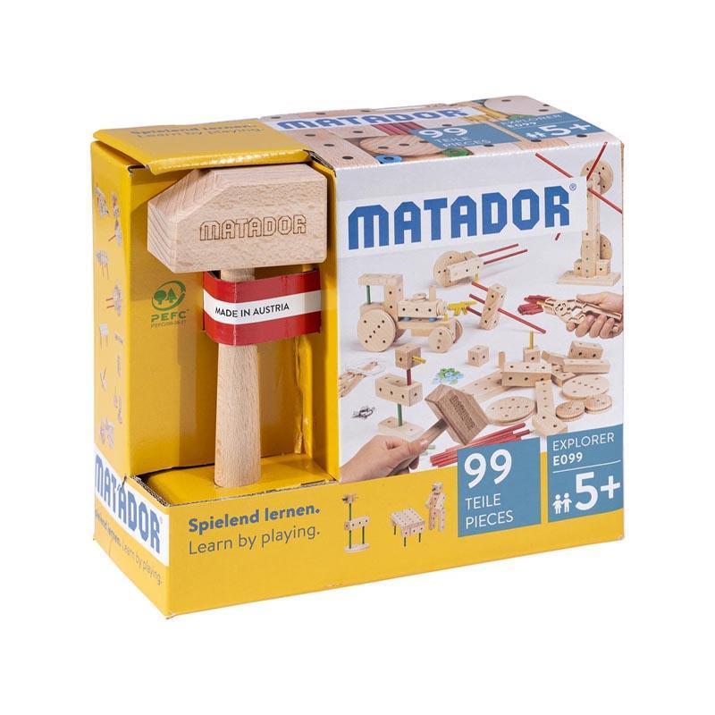 Set cuburi de constructie din lemn Explorer 99 piese, +5 ani, Matador