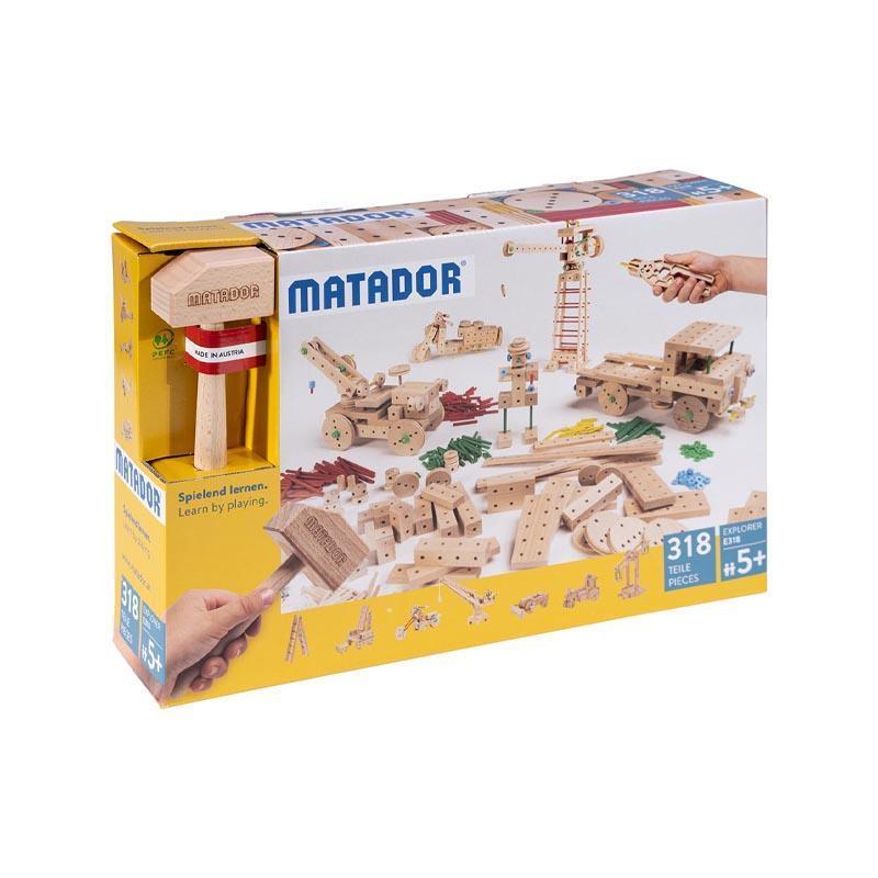 Set cuburi de constructie din lemn Explorer 318 piese, +5 ani, Matador