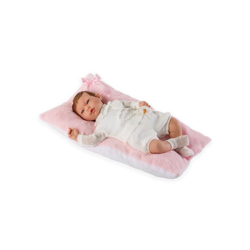 Papusa bebe realist Reborn Alma cu perna roz, 46 cm, Guca