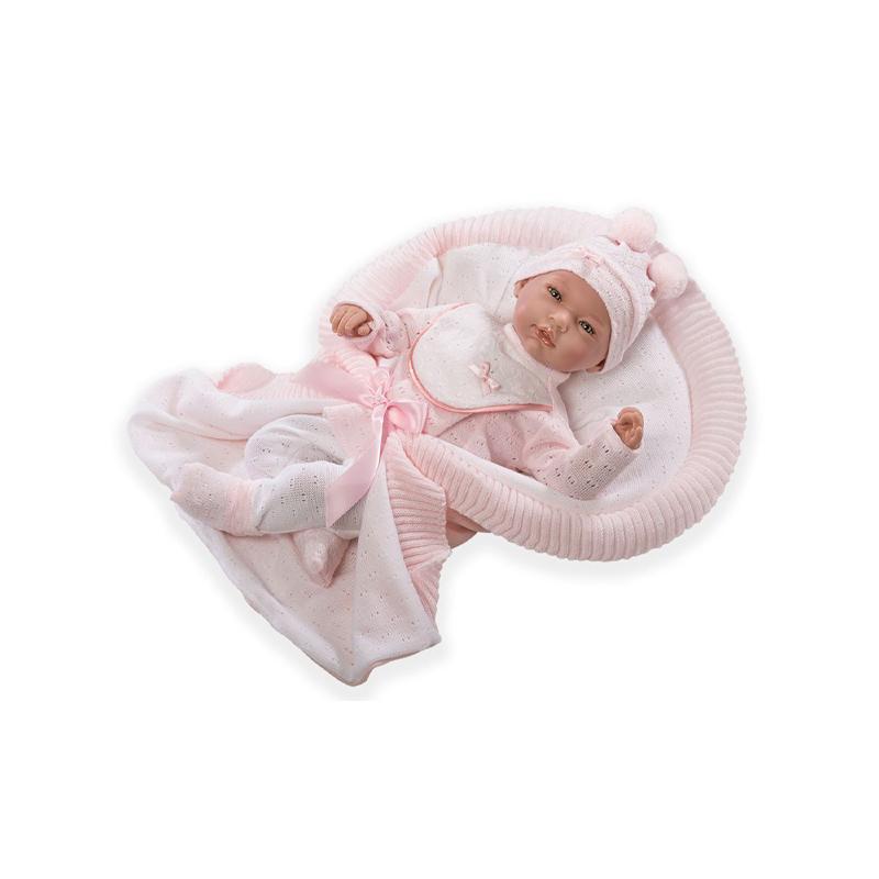 Papusa bebe realist, Africa cu paturica roz, 46 cm, Guca