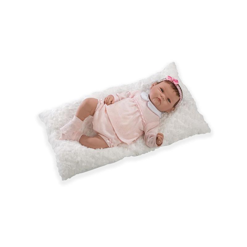 Papusa bebe realist Reborn Rocio, rochita roz, cu paturica, 46 cm, Guca