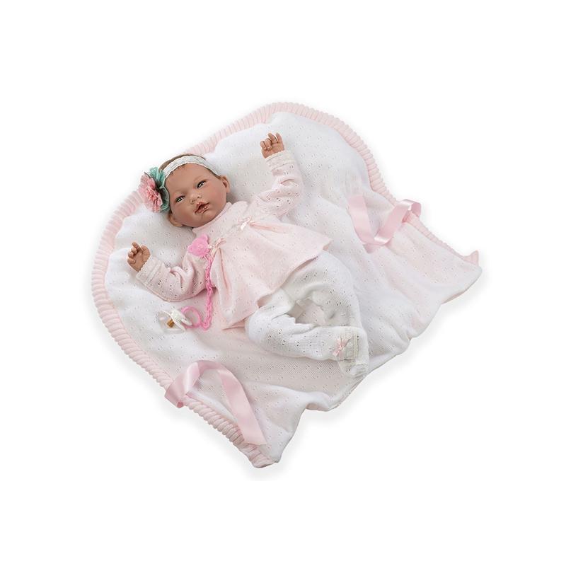 Papusa bebe realist Reborn Ainoa, hainute tricot si pernuta, 46 cm, Guca