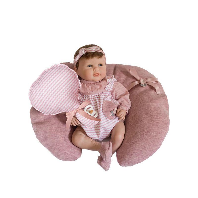 Papusa bebe realist Reborn Abril, cu pernita sustinere si pernita balon, 46 cm, Guca