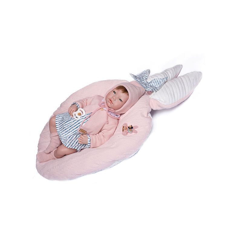 Papusa bebe realist Reborn Isabela roscata, cu salteluta roz, 46 cm, Guca