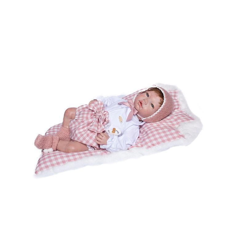 Papusa bebe realist Reborn Raquel roscata, cu salteluta roz in carouri, 46 cm, Guca