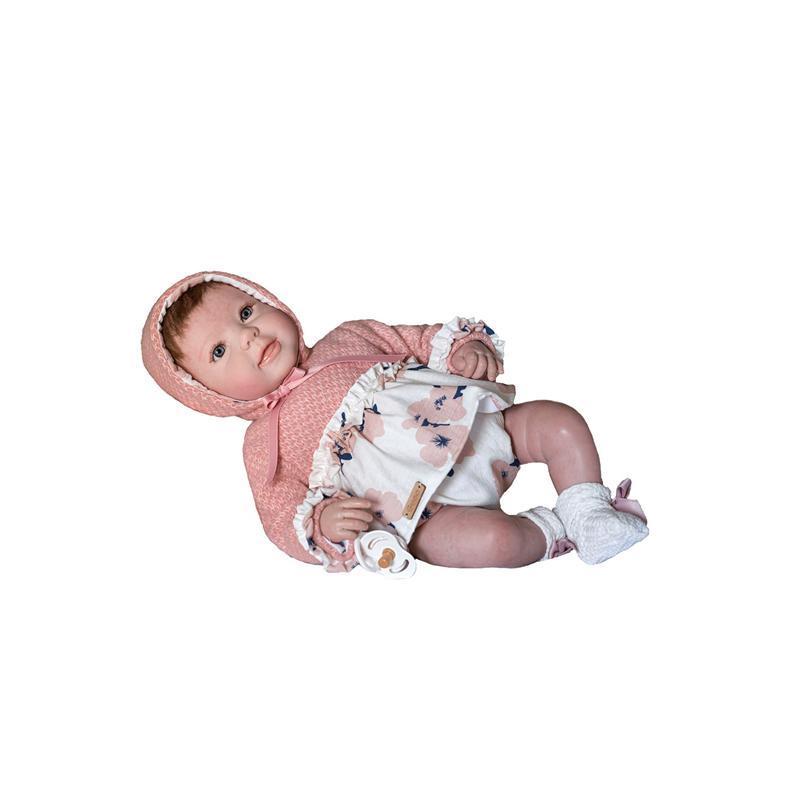 Papusa bebe realist Reborn Ella, cu paturica roz blanita, 46 cm, Guca