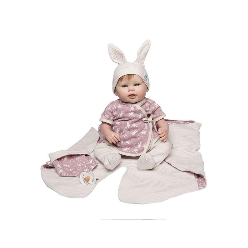 Papusa bebe realist Reborn Lorette, cu paturica roz cu modele, 46 cm, Guca