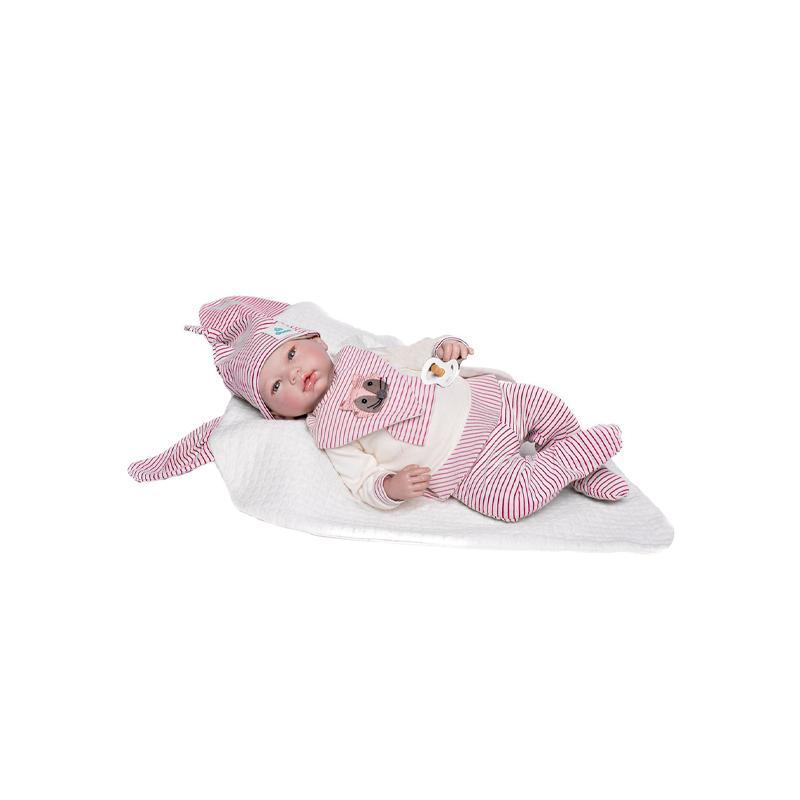 Papusa bebe realist Reborn Amanda, cu saculet de dormit alb, 46 cm, Guca