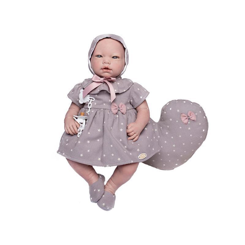 Papusa bebe realist Reborn Laia, cu pernuta maro stelute, 46 cm, Guca