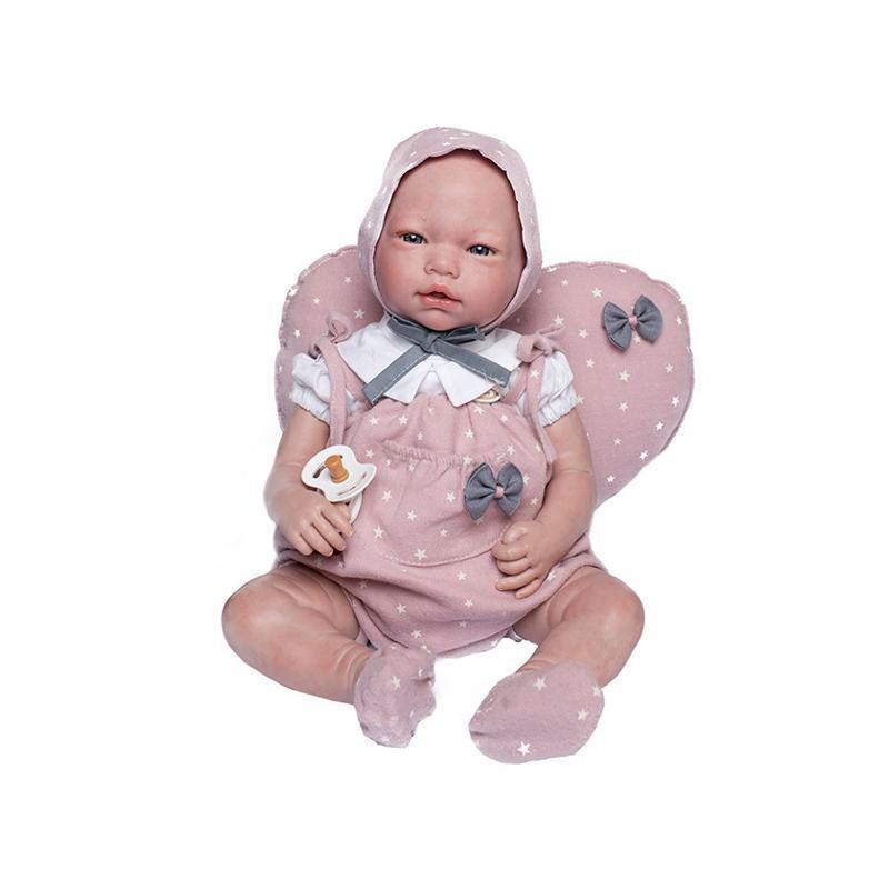 Papusa bebe realist Reborn Violeta, cu pernuta roz stelute, 46 cm, Guca