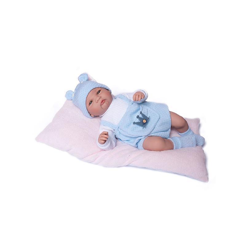 Papusa bebe realist Reborn Mario, cu salteluta roz blanita, 46 cm, Guca