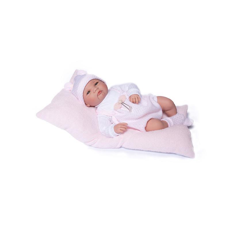 Papusa bebe realist Reborn Elsa, cu salteluta roz blanita, 46 cm, Guca