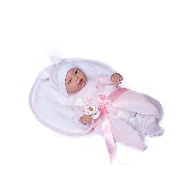 Papusa bebe realist Reborn Julia, cu pernuta alb-roz tricot, 46 cm, Guca