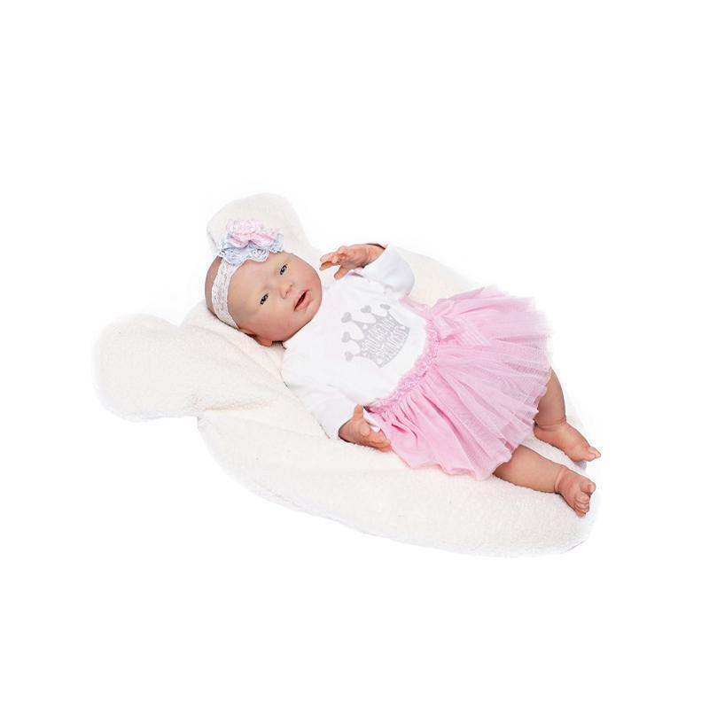 Papusa nou-nascut hiper-realist Silicone Reborn Mar, cu rochita balerina, 46 cm, Guca
