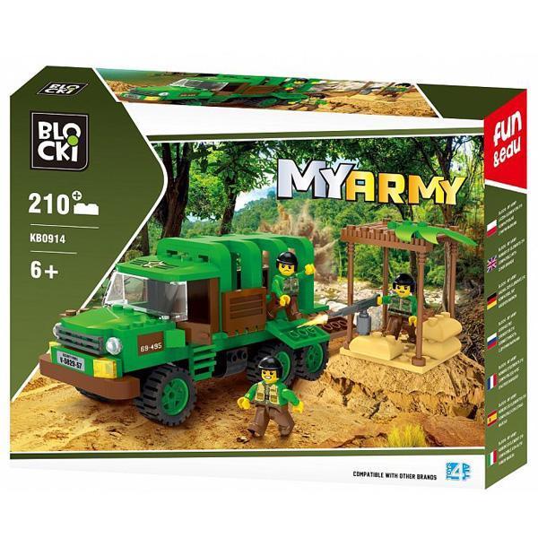Set cuburi constructie MyArmy Camion militar in jungla, 210 piese, Blocki