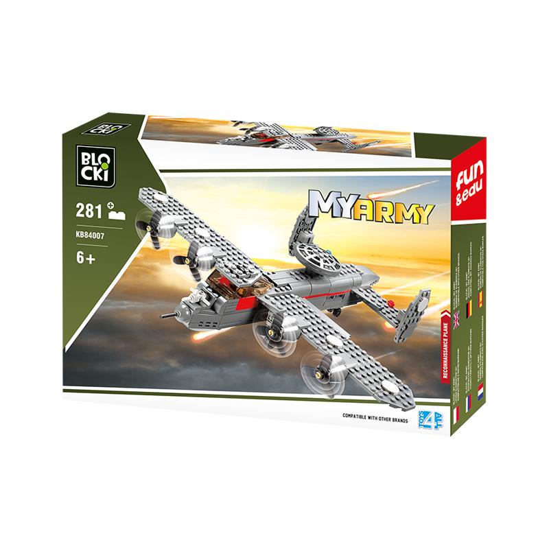 Set cuburi constructie MyArmy Avion militar cu elice, 281 piese, Blocki