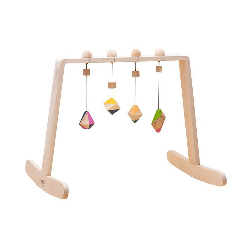 Centru de activitati pentru bebelusi Baby Gym, cu 4 jucarii colorate corpuri geometrice, lemn, Mobbli imagine