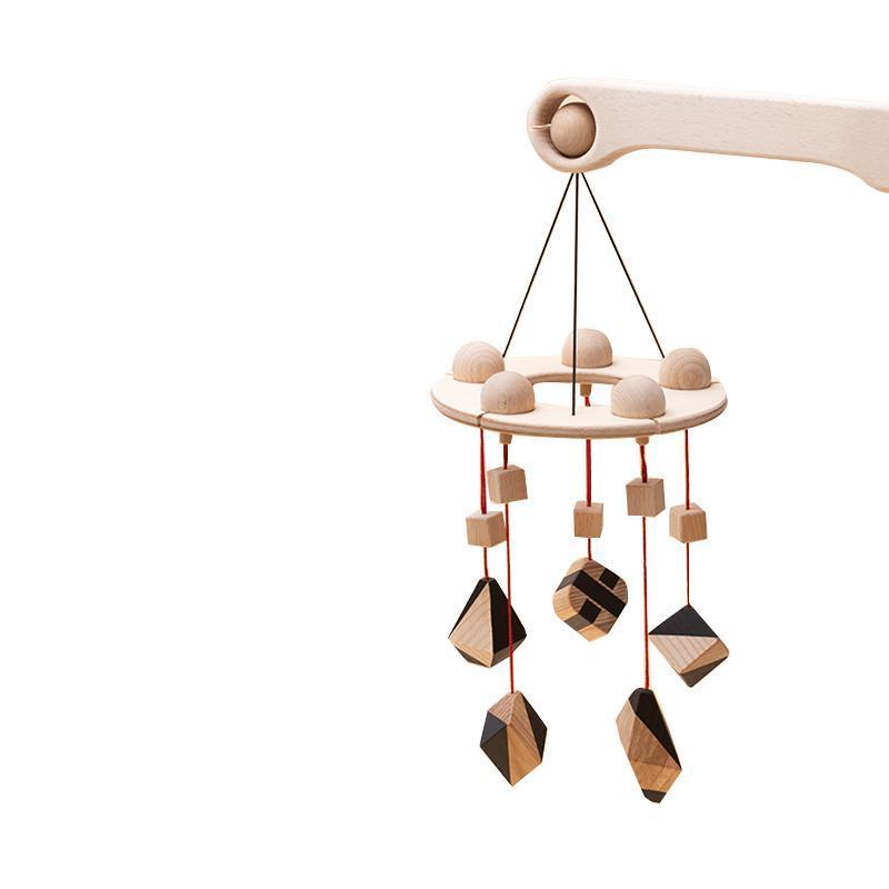 Carusel patut bebelusi Mobile, cu 5 jucarii natur-negru corpuri geometrice, lemn, Mobbli imagine