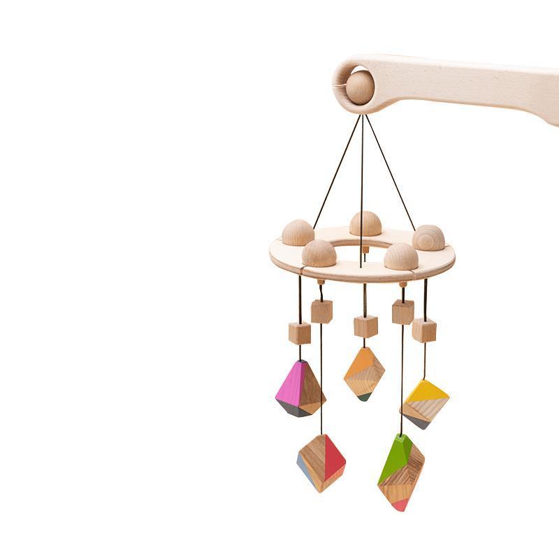 Carusel patut bebelusi Mobile, cu 5 jucarii colorate corpuri geometrice, lemn, Mobbli imagine