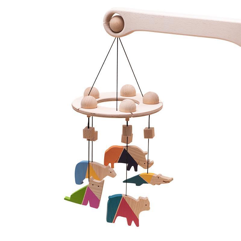 Carusel patut bebelusi Mobile, cu 5 jucarii colorate animale 2, lemn, Mobbli imagine