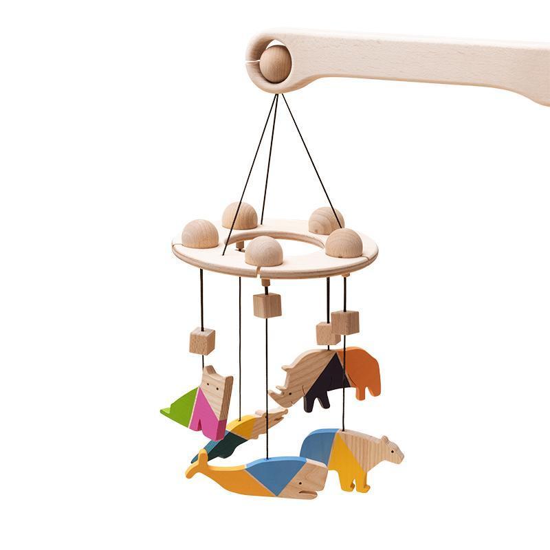 Carusel patut bebelusi Mobile, cu 5 jucarii colorate animale, lemn, Mobbli imagine