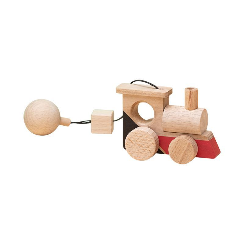 Jucarie din lemn locomotiva, colorat, pentru carusel / centru de activitati, Mobbli imagine