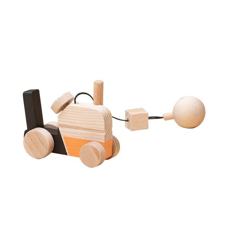 Jucarie din lemn tractor, colorat, pentru carusel / centru de activitati, Mobbli imagine