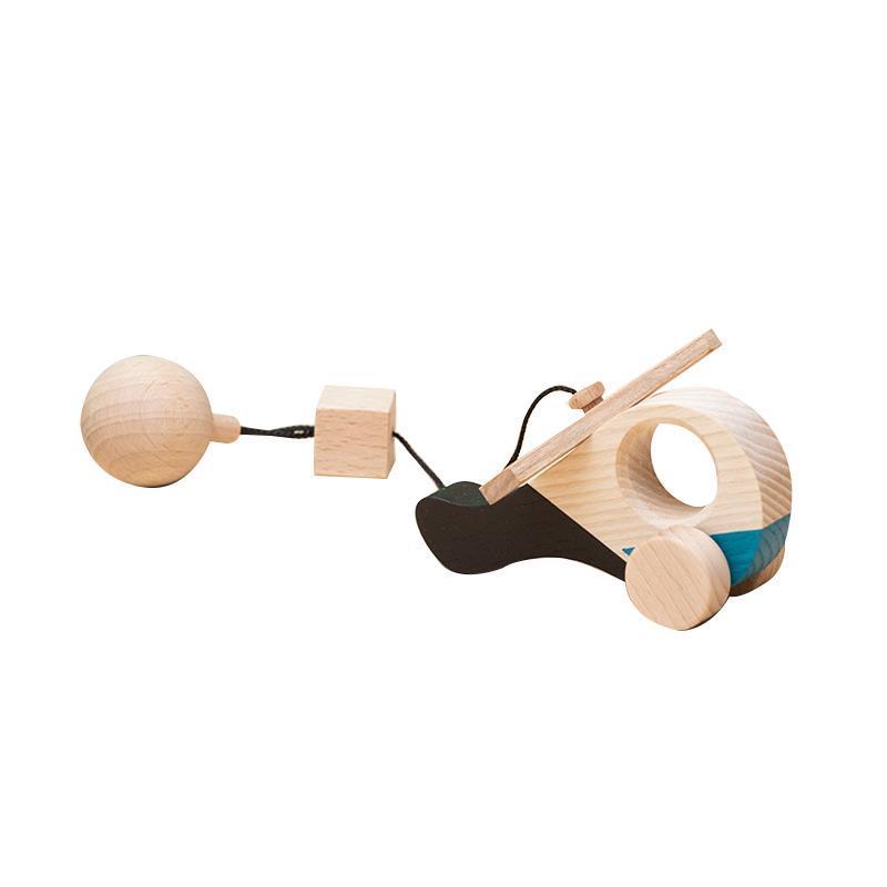 Jucarie din lemn elicopter, colorat, pentru carusel / centru de activitati, Mobbli imagine