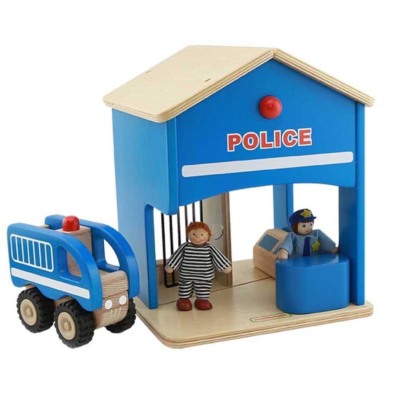 Statie de politie de jucarie, din lemn, +3 ani, Masterkidz, pentru gradinite