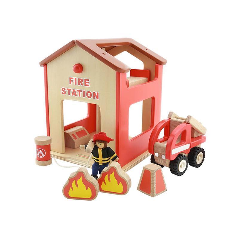 Statie de pompieri de jucarie, din lemn, +3 ani, Masterkidz, pentru gradinite
