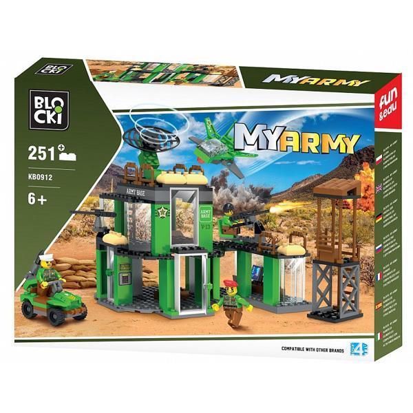 Set cuburi constructie MyArmy Baza militara, 251 piese, Blocki