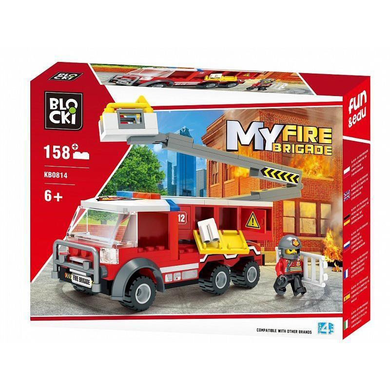 Set cuburi constructie MyFireBrigade Masina autoutilitara de pompieri cu lift, 158 piese, Blocki