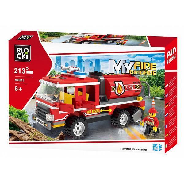 Set cuburi constructie MyCity Cisterna pompieri, 213 piese, Blocki