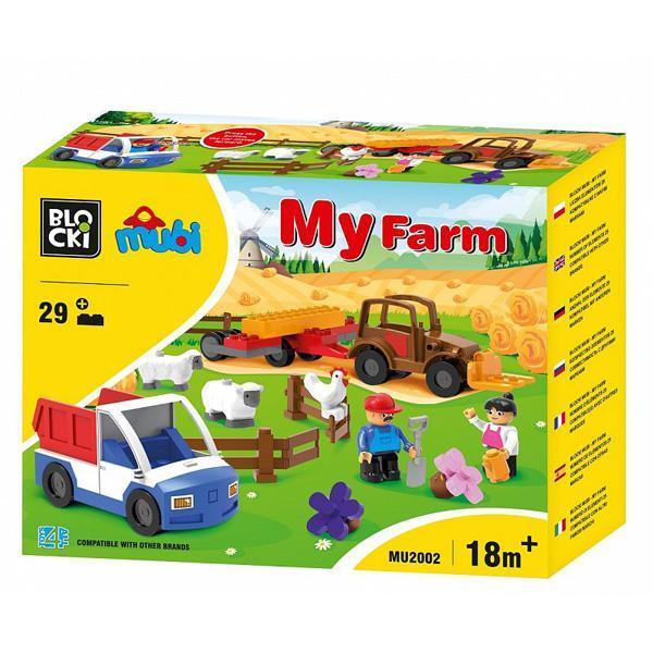 Set cuburi constructie mari Mubi Ferma+camioneta, 29 piese, Blocki