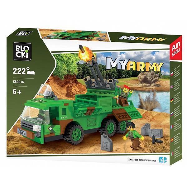 Set cuburi constructie MyArmy Tir militar cu lansator rachete, 222 piese, Blocki