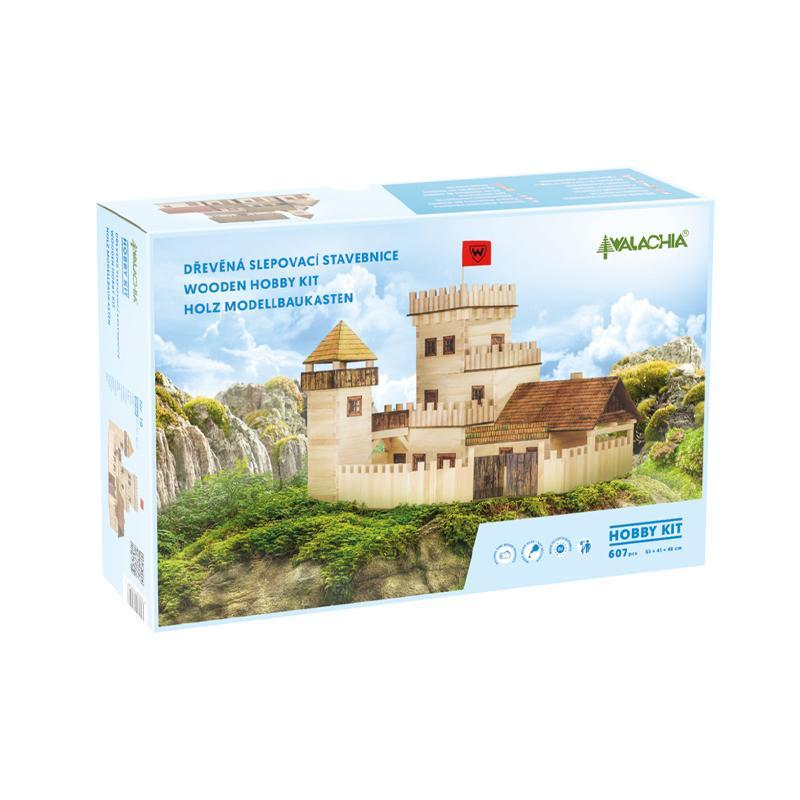 Set constructie arhitectura Castel, 607 piese din lemn, Walachia
