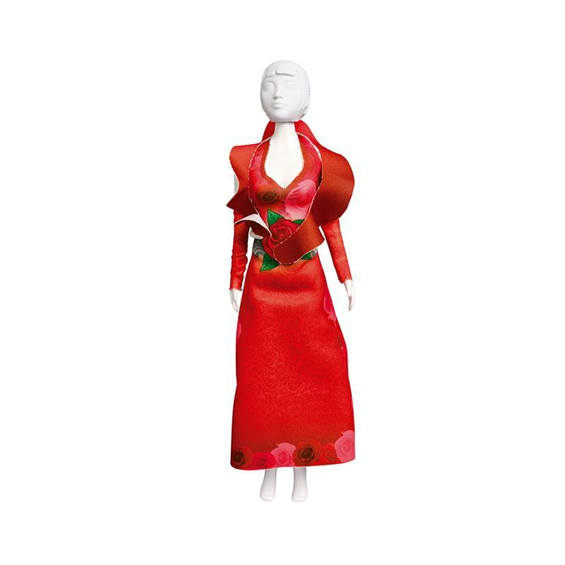 Set de croitorie hainute pentru papusi Couture Mary Red Roses, Dress Your Doll