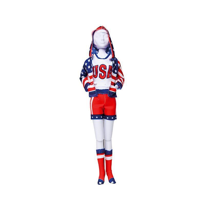 Set de croitorie hainute pentru papusi Couture Sporty Stars & Stripes, Dress Your Doll