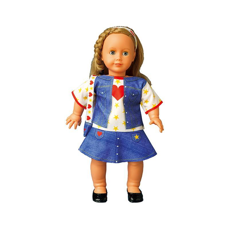Set de croitorie hainute pentru papusi Couture Emily Heart jeans, Dress Your Doll